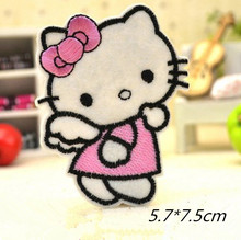 Angel Hello Kitty Wearing A Pink Bow Badge Embroidered Iron-on Patches Garment Appliques DIY Accessory 5pcs/lot