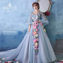 2017 Winter Fashion 3D Flowers Large Size Prom Party Evening Dress Arabian Saree Evening Dress Long Sleeves Ball Gowns