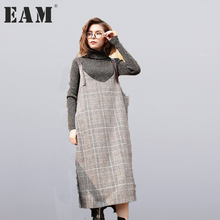 Buy EAM 2018 new spring round neck trapless gray plaid solid color loose big size dress women fashion tide all-match JC9350 for $22.00 in AliExpress store
