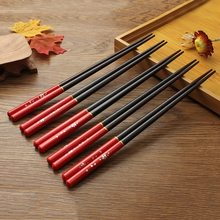 Newest Chopsticks 5 pair Japanese Wooden Bamboo Chopstick Gift Set Red Black Handle Design Couple Chopsticks With Case