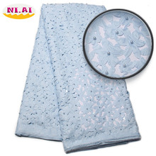 Free Shipping Light Blue 2017 Latest Laser Cut Lace Fabric Cheap Price African Beads Lace Fabric For African Lady XY808B(China)