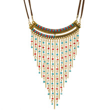 Beaded Fringe Necklace Maxi Collier Plastron Collares Hippie Boho Chic Indian Native American Jewelry Statement Bib Necklace