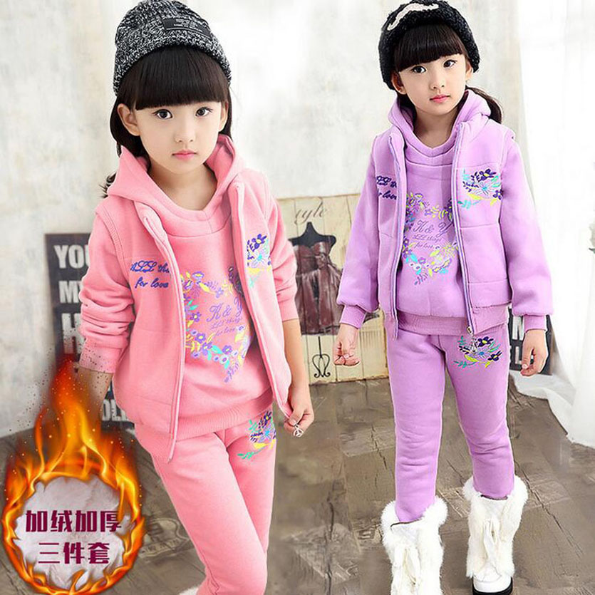 Children Clothing Sets Winter Fleece Girl Sport Suit Girls Clothing Sets Moda Infantil Menina Fashion Toddler Girl Clothing<br>