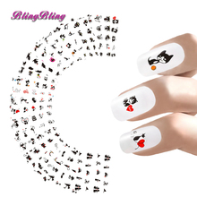 Blingbling 24sheets Nail Stickers Lovely Cat Water Transfer Sticker Decals Cute Cartoon Nail Wraps Manicure Nail Art Decoration
