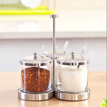 3-piece Set Europe High Grade Seasoning Tool Set Glass Pot Stainless Steel Spice Storage Jar Pepper Caster Free Shipping(China)