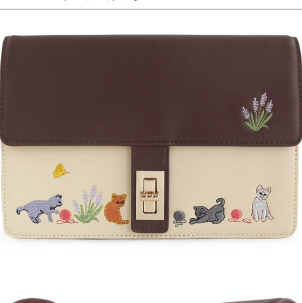 Vintage Retro Cat Saddle Brown Beige Embroidery Animal Prints Faux Leather PU Womens Messenger Crossbody Shoulder Bags Totes<br><br>Aliexpress