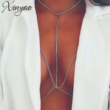 XINYAO 2017   Gold Silver Color Rhinestone Crystal Body Chains Jewelry Shiny Bra Sexy Bikini Body Chain Beach Jewelry F6705