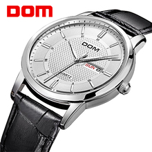 DOM Men Waterproof Double Calendar Stainless Leather Strap Wrist Watch(China)