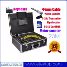 Whole Set Pipe Drain Sewer Inspection System Camera With 20M Cable Color LCD 512Hz Transmitter USB Keyboard DVR Meter-Counter
