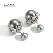 2017 New Double Sided Earrings Women Aretes Delicate Cubic Zirconia Imitation Double Pearl Earrings Stud Earrings 3 Colors(China)