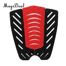 MagiDeal High Quqlity 3 Piece Surfboard Traction Tail Pad Deck Grip Surfing Shortboard Longboard Skimboard Decor Stomp Black+Red
