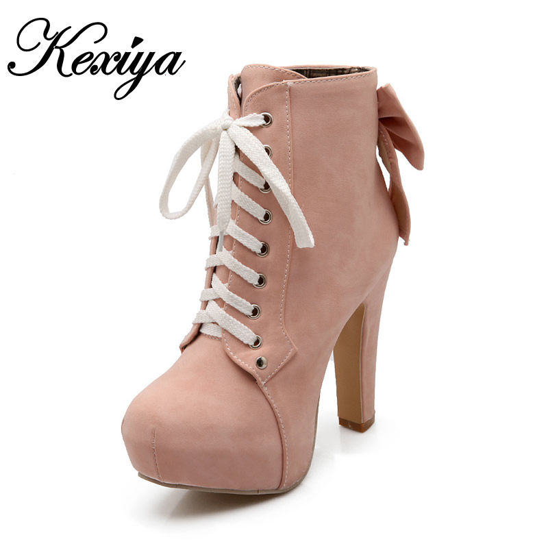 2017 Fashion winter women shoes sweet bowknot decoration platform high heels customize Small yards 31 32 33 Lace-Up Ankle boots<br><br>Aliexpress