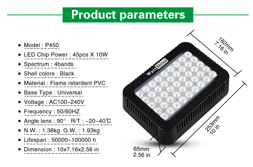 High PAR Value 450W led grow light Full spectrum for plant growing Indoor plants lamps Hydroponics lighting Double chip 10W  (14)