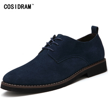 COSIDRAM Faux Suede Leather Men Oxfords British Style Autumn Men Shoes 2017 Fashion Men Casual Shoes Male 45 RMC-041(China)
