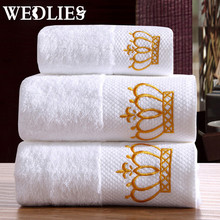 Towels Crown 3-Pieces Embroidered White Hotel Cotton Towel Set Face Towels Bath Towel For Adults Washcloths High Absorbent