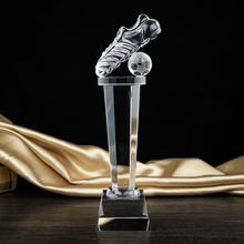 Crystal custom striker football trophy award Golden boot fans crystal cup custom lettering competition awards()