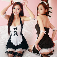 Buy Sexy Maid Costumes Women Uniform Dress Black Lace Outfit Cosplay Halloween French Maid Costumes Suit Game Uniform Sexy Lingerie