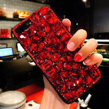 For iPhone X 8 6 6s 7 Luxury Bling Rhinestone Case Red Diamond Cover for iPhone 7 7 plus Fundas Coque de telephone for 8 8 Plus()