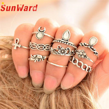 Retro 10Pcs/ Set Boho Fashion Arrow Moon Midi Finger Ring Set Knuckle Rings for Women Delicate New Drop Shipping