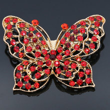 NingXiang Multicolor Fashion Crystal Rhinestone Animal Butterfly Brooch Pins for women Cheap Cute Green Red Pink Girls Brooches