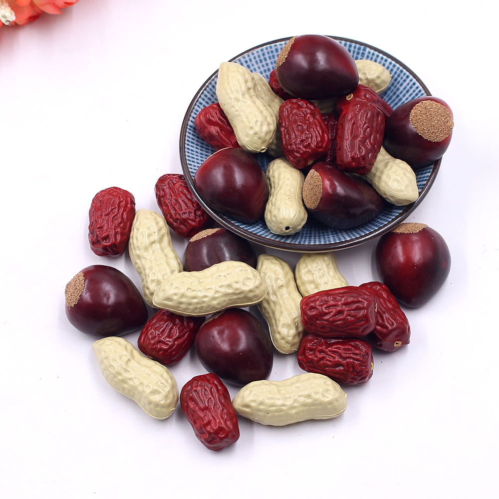10pcs plastic peanuts red dates dried fruit foam chestnut food simulation children creative toys kitchen table decorations