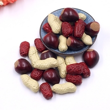 10pcs plastic peanuts red dates dried fruit foam chestnut food simulation children creative toys kitchen table decorations(China)