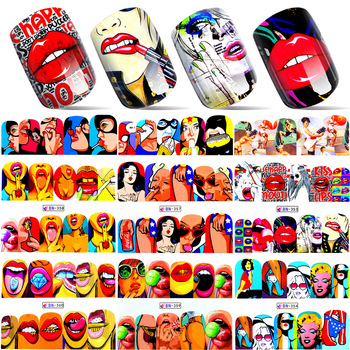 YZWLE 1 Sheet 2017 New Nail Fashion Sticker Full Cover Lips Cute Printing Water Transfer Tips Nail Art Decorations