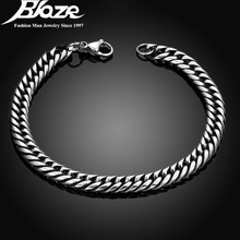 Silver Plated Man Simple Bracelets Bangles Top Quality 316L Stainless Steel Wrist Band Hand Chain For Mens Boy Jewelry Drop Ship