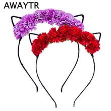 Flower Headbands Women Girls Hair Accessories 2017 Spring Summer Chrysanthemum Cat Ears Hairbands Holiday Beach Cute Headwear(China)