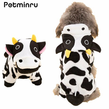 Petminru Cute Dog Clothes Coral Fleece Coat Cows Pattern Teddy Winter Clothes Four Length Pet Coat(China)