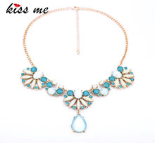 New Styles 2016 Fashion Jewelry Light Blue Color Water Drop Pendant Necklace For Christmas Gifts