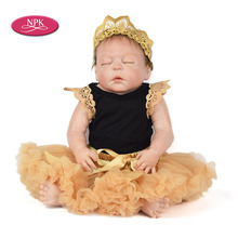 NPK 57CM Full Body Silicone Reborn Doll Lifelike Newborn Baby Girl For Sale Realistic Baby Alive Dolls Fashion Kids Child Gifts