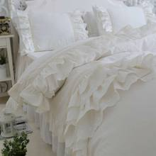 Princess ruffles solid wed bedding set,cotton twin full queen king,single double home textile pillow case quilt cover bed skirt