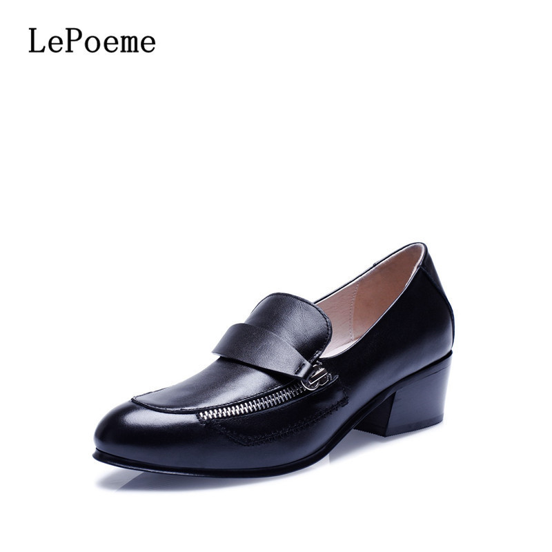 Genuine Leather Chain Leisure Shoes 2017 Latest Spring/Autumn Fashion Metal Decoration Shoes  Black White Cow Leather Derby Shoe<br><br>Aliexpress