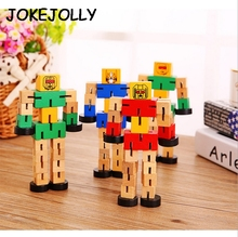 1 Pc Montessori Wooden Transformation Robot Building Blocks Kids Toys for Children Educational Learning Intelligence Gifts WYQ