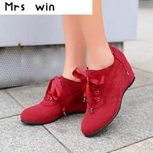 New sweet Shoes Woman Ankle Boots Nucbuck Leather Casual lace up Autumn Boots Female Cowboy Booties