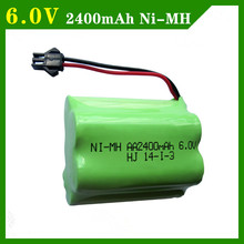 6v battery 2400mah ni-mh bateria 6v nimh battery pack 6v size aa rechargeable ni mh for lighting rc car toy electric tools(China)