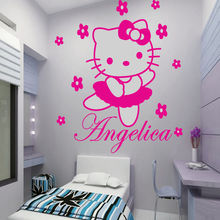 Custom Name Hello Kitty Vinyl Wall Art Wall Stickers For Girls Rooms Decor Wall Stickers Size 45*60CM adesivo de parede D84(China)