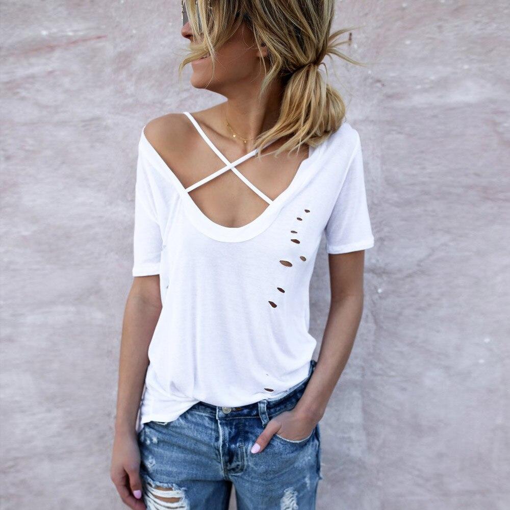 Black t shirt white cross - 2017 White Black T Shirt Women Short Sleeves Summer Cross V Neck Cotton T
