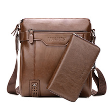Trend Shoulder Bag Vertical Men's Business Casual Leather Shoulder Bag Messenger Bag Portable Briefcase Clutch Purse(China)