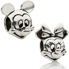 Couqcy Cartoon Alloy Beads Mickey Charm DIY Pendant Mickey Minnie Beads Fit Pandora Bracelet Silver Color 2Pcs/Set Wholesale