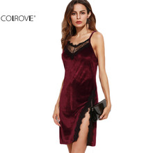COLROVE fashion women bodycon dress Sexy Club Wear Mini Dress Color Block Burgundy Lace Trim Slit Velvet Cami Dress