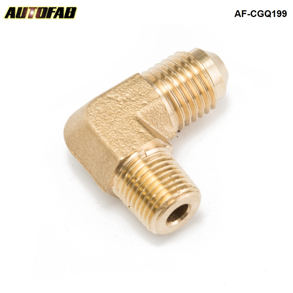 AUTOFAB -1/4 NPT to AN-4 90 Degree Brass Compression Fitting For Oil Drains/Feeds, Intake Manifold Adapter AF-CGQ199