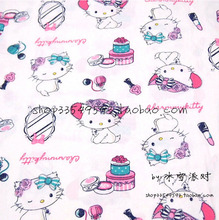 140x50cm1pc Hello Kitty Fabric 100%Cotton Fabric White Thin Pretty Hello Kitty Cat Printed Fabric For DIY Sewing Baby Clothing