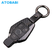 ATOBABI Carbon Fiber Pattern Zinc Alloy Car Key Case Remote Fob Shell Cover Keychain Mercedes Benz C E Class 2 3 Buttons Key