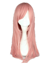 Pink Wig Fei-Show Synthetic Heat Resistant Medium Straight Women Hair Peruca Pelucas Costume Cartoon Role Cos-play Hairpiece
