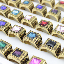 10 Pcs/Lot Vintage Antique Crystal Ring For Men Alloy Big Square Stone Finger Ring Male Men Jewelry 2016