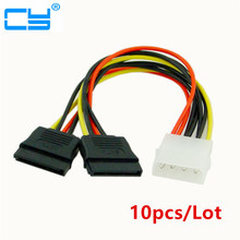 10pcs/Lot 4Pin Molex Male 1 to 2 SATA Female Power Supply Extension Cable IDE Power Port to Dual 15Pin SATA Y Splitter(China)