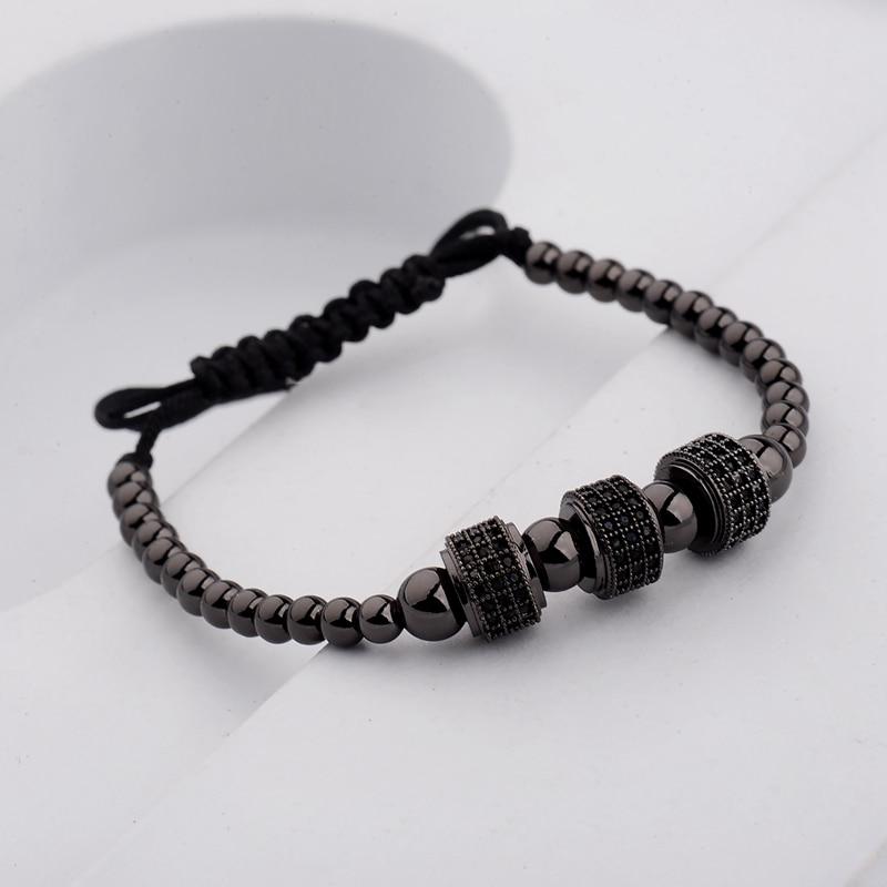 DOUVEI 17 New Black Diy Design Pave CZ Ball Charm Bracelet Men Women Braided Macrame Copper Beads Jewelry Gift For Men Women 15