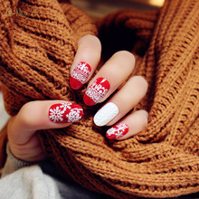 24Pcs Full Red Snowflake Fake Nails With 3D Designs Full Cover  Unhas Artificiais Nail Art Tips  for Christmas Decorations Set